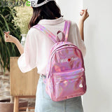 Mini PU Leather Holographic Backpack