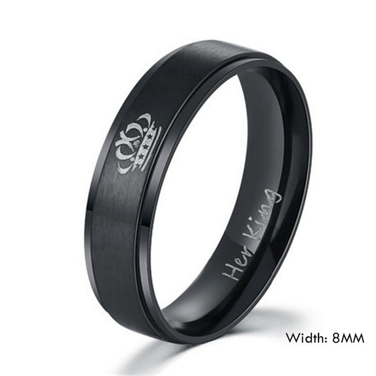 Her King and His Queen Stainless Steel Wedding Rings