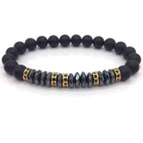 Premium Pave CZ Men Bracelet 8MM Stone Beads With Hematite Charm Bracelet