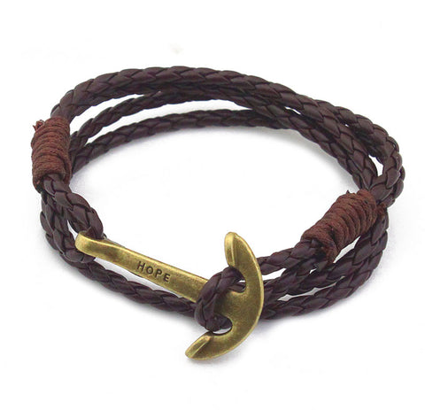 Image of 40cm PU Leather Men Anchor Charm Bracelet Wristband