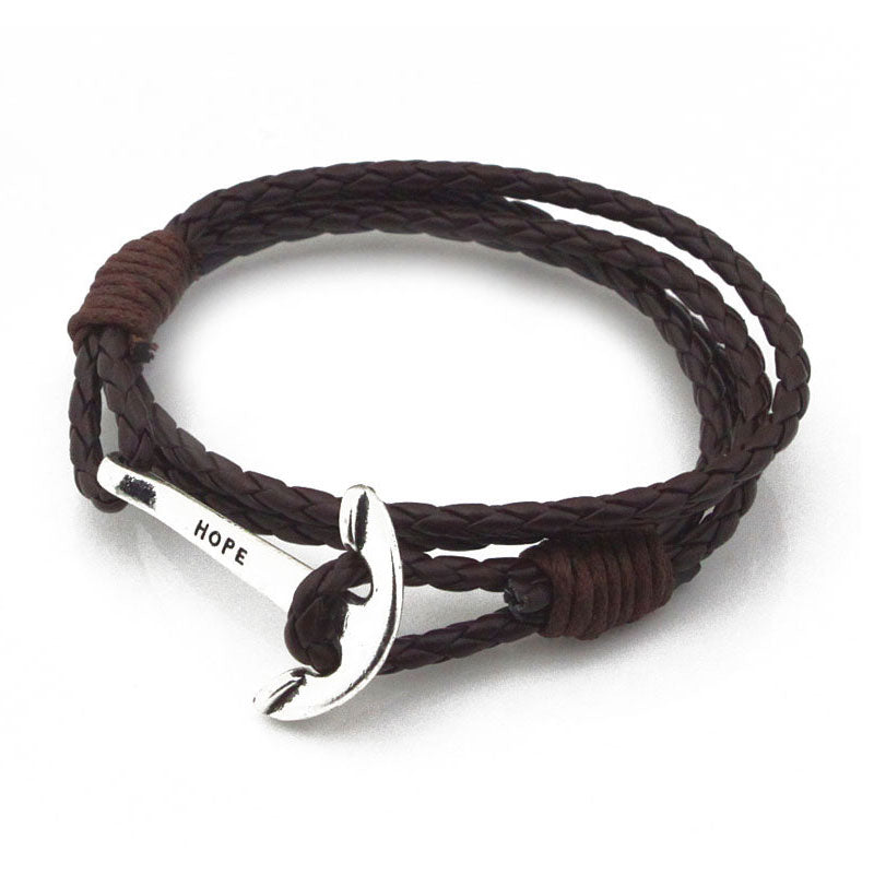 40cm PU Leather Men Anchor Charm Bracelet Wristband