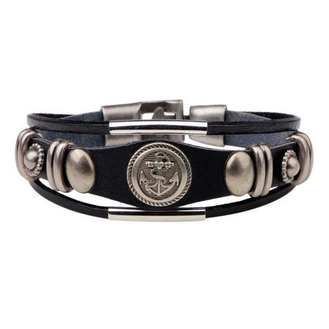 Image of Leather Anchor Bracelet