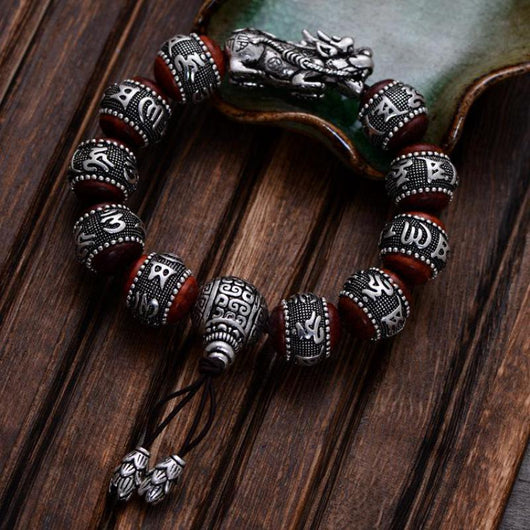 Natural Red Sandalwood Carving Six Words Mantra Beads