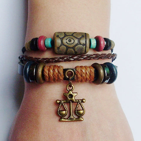 Image of Zodiac Sign Charm Hemp Leather Bracelet