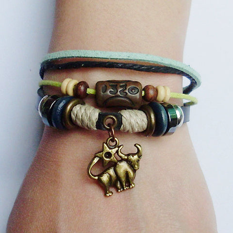 Zodiac Sign Charm Hemp Leather Bracelet