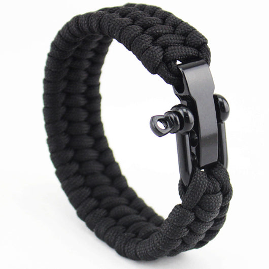 Surf Nautical Sailor Stainless Steel Anchor Shackles Black Leather Bracelet