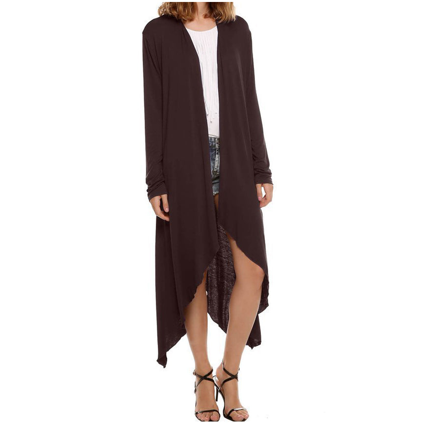 European Thin Kimono Cardigan Long Sleeve Loose Asymmetric Hem Outerwear