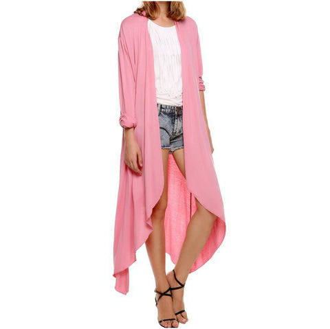 Image of European Thin Kimono Cardigan Long Sleeve Loose Asymmetric Hem Outerwear