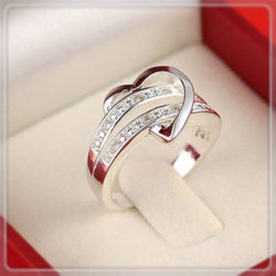 Premium Exquisite Rhinestone Heart Lover's Couple Rings Valentine's Gift