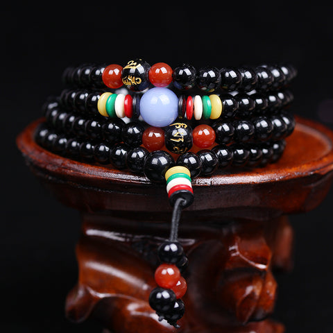 Image of 108 Natural Obsidian Beads Tibetan Buddhist Prayer Bracelet