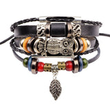 Premium Punk Bead Turkish Evil Eye Owl Leather Bracelet