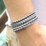 Latest Popular 5 Laps Leather Charm Vintage Black Bracelet
