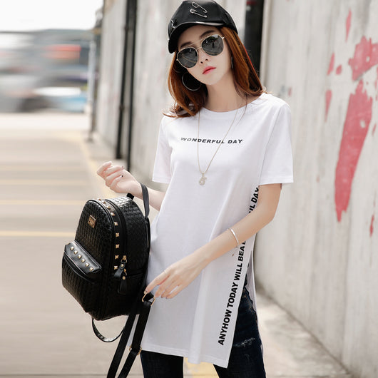 Short Sleeve Kawaii Cotton Side Opening Long Harajuku T Shirt