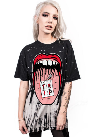 Image of Europe Style 3D Print Mouth Design O-neck Loose Punk Tops