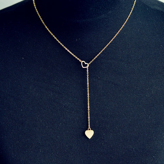 Trendy Copper Heart Chain Link Necklace