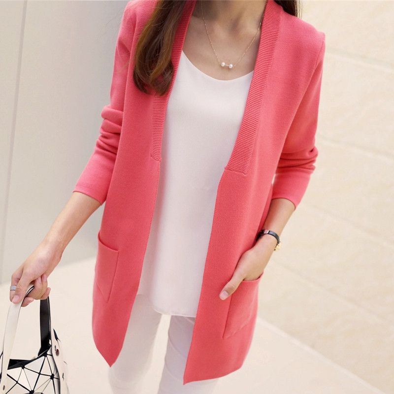 Long Cardigan Korean Slim Pocket Loose Knit Sweater