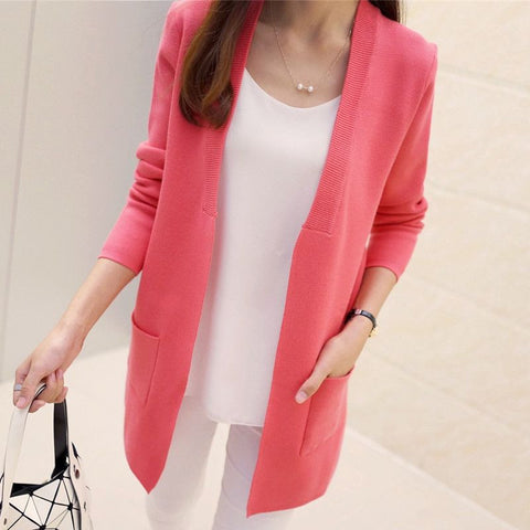 Image of Long Cardigan Korean Slim Pocket Loose Knit Sweater