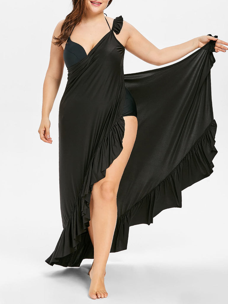 Plus Size Flounce Ruffles Beach Cover Up