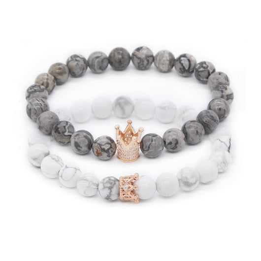 Lovers Crown Queen Charm Stone Beads Bracelets