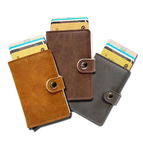 RFID Protected Vintage Automatic Leather Credit Card Holder