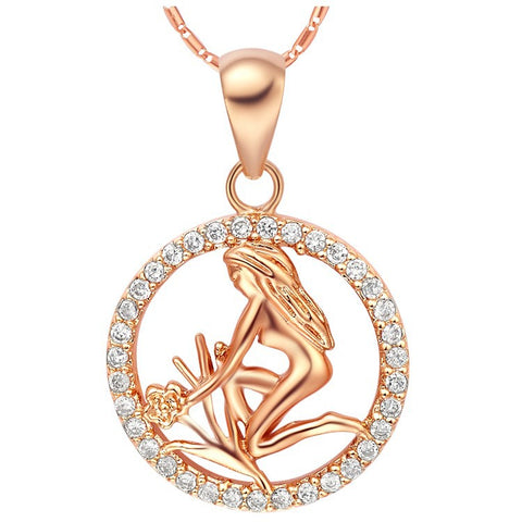 12 Zodiac Aries Taurus Gemini Cancer Leo Pendant Gold Necklace