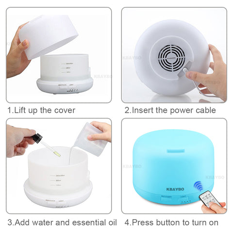 Image of Remote Control 300ML Ultrasonic Air Aroma Humidifier