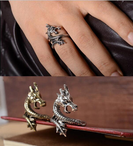 Image of Charms Punk Exaggerated Vintage Dragon Ring