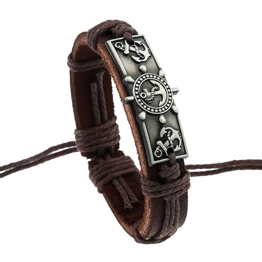 Handmade Leather Rudder Anchor Bracelet