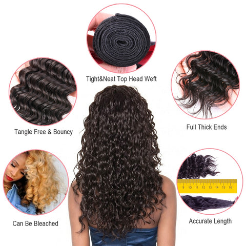 Deep Wave Human Hair 3 Bundles With Lace Frontal Closure Curly Hair Extension