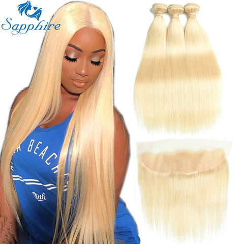 613 Blonde Frontal Straight Human Hair Bundles With Closure