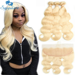 Body Wave 613 Blonde Human Hair Bundles with Closure 3 Bundles With 13x4 Lace Frontal