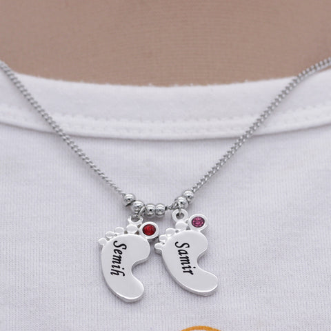 Birthstone Baby Feet Pendant Necklace
