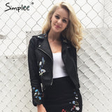 Embroidery Faux Leather Motorcycle Zipper Jacket