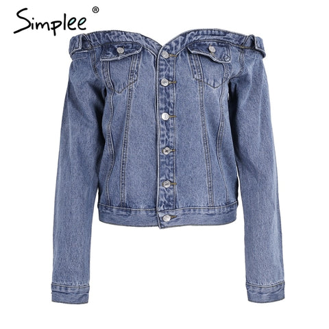 Sexy Off Shoulder Denim Jacket
