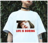 Spoof Harajuku Lovers T-shirt Life is Boring Letters Print Harajuku Fashion