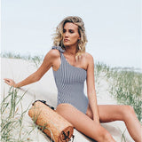 Striped One Shoulder Women Swimwear