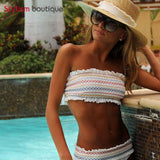 Striped Printed Bandeau Bikinis Set