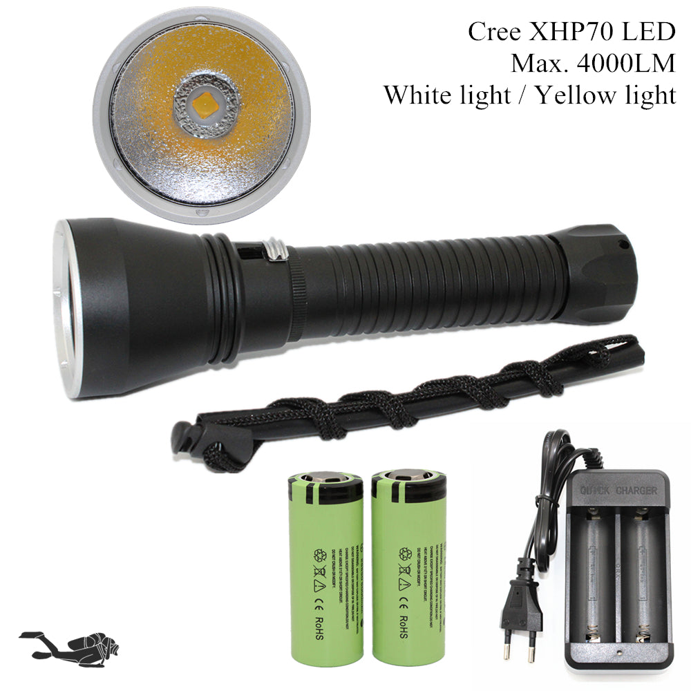 Super Brightness Cree XHP70 LED 4000 Lumens Tactical Flashlight