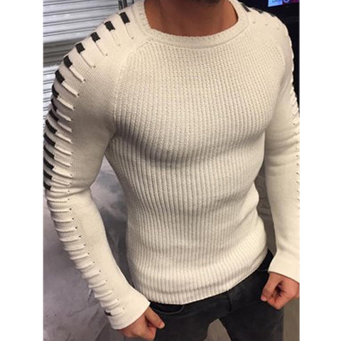 Image of Casual Pullover Autumn Round Neck Patchwork Sweaters Size M-3XL