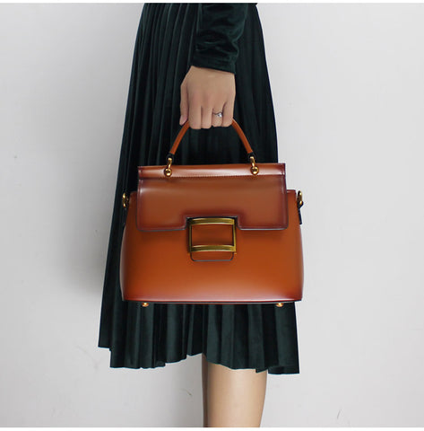Image of European Station High-end Atmosphere Handmade Leather Handbags