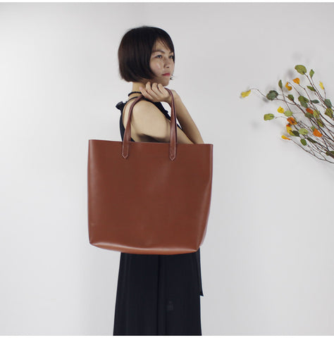 Image of Original Leather Handmade Large Capacity Ladies Tote Bag