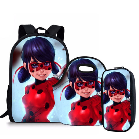 Image of Miraculous Ladybug Printed Children School Bags for Girls
