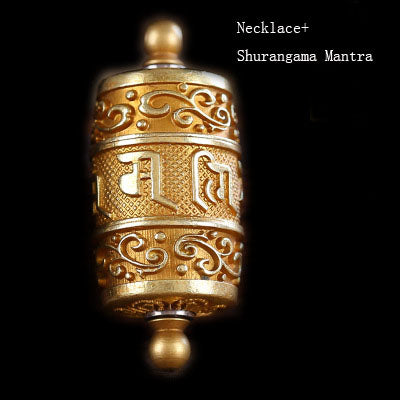 Tibet Buddhism Surangama Mantra Rotatable Pendants Necklace