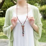 Tibetan Whitebait Ethnic Ancient Long Tassel Necklace