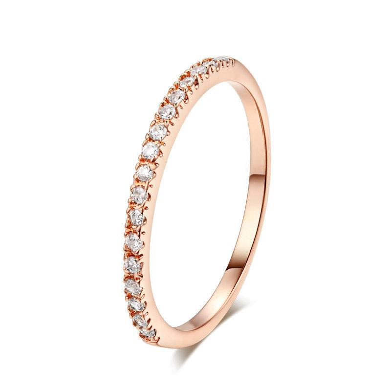 Gold Concise Classical CZ Wedding Ring