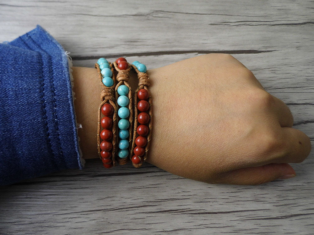 Trip Wrap Boho Natural Stone Beads Yoga Bracelet