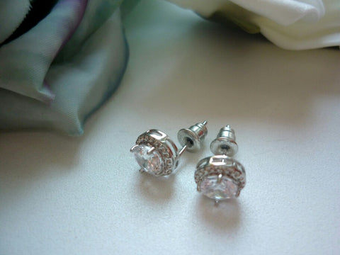 Image of Micro Round CZ Crystal Stud Earrings