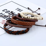 Handmade Trendy Vintage Wood Bead Skull Anchor Leather Bracelet