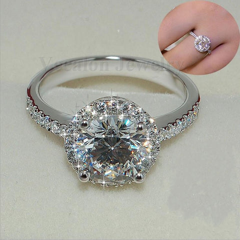 Image of Genuine 2CT AAAAA Zircon Cz 925 Sterling Silver Engagement Ring