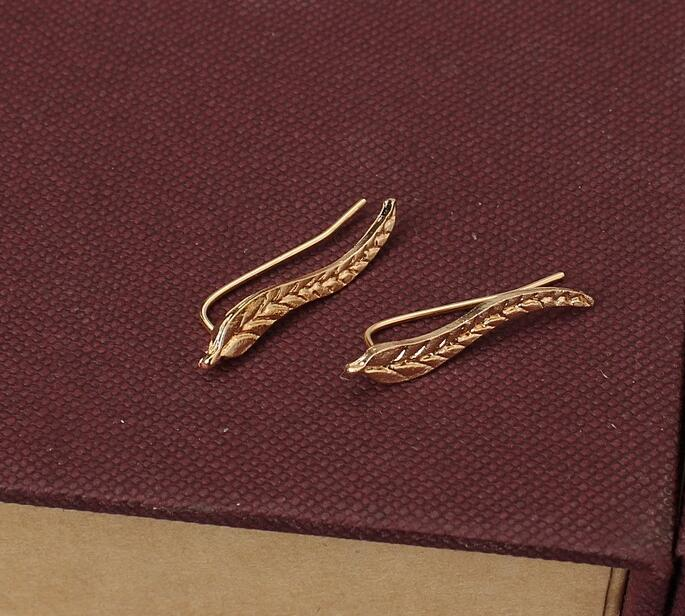 Gold Leaf Modern Feather Stud Earrings